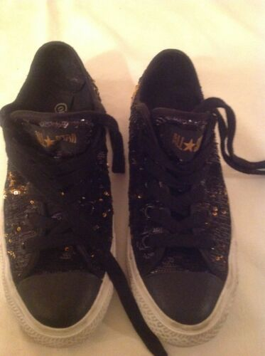 Authentic Converse All Star Black and Gold Sequin