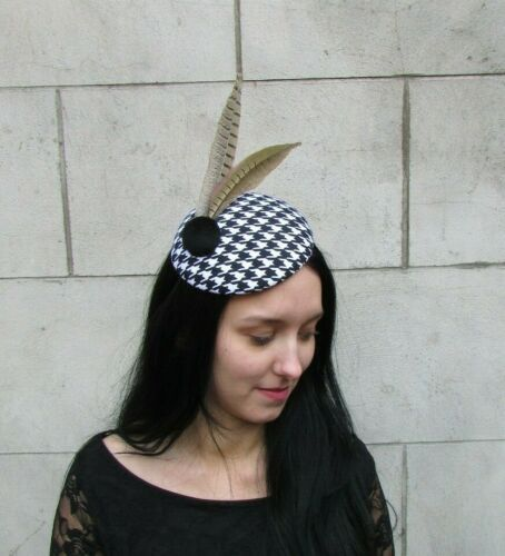 Black Dogtooth Houndstooth Pheasant Feather Pillbox Hat Fascinator Races 8022