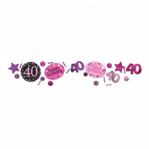 40-Geburtstag-Party-Deko-Konfetti-Happy-Birthday-pink-schwarz-Tisch-Dekoration