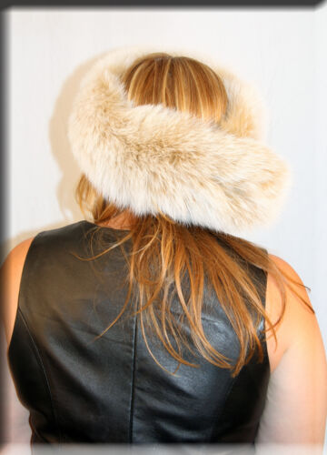 Efurs4less New Blush Fox Fur Headband 26 Inches Long and 5 Inches Wide