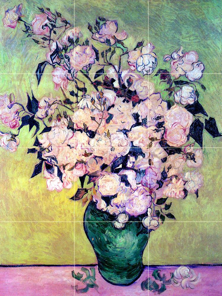 Art van Gogh Vase with Roses Mural Tumbled Marble Decor Tile  166