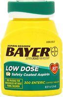 4 Bottle Bayer Low Dose 81mg Daily Aspirin Regimen 300 Enteric Coated Tablets Ea on sale