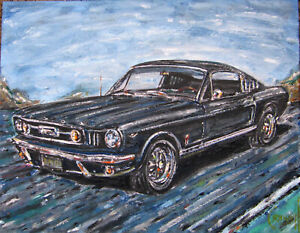 Ford-Mustang-Black-Fastback-1966-classic-car-painting-original-signed-Crowell-US