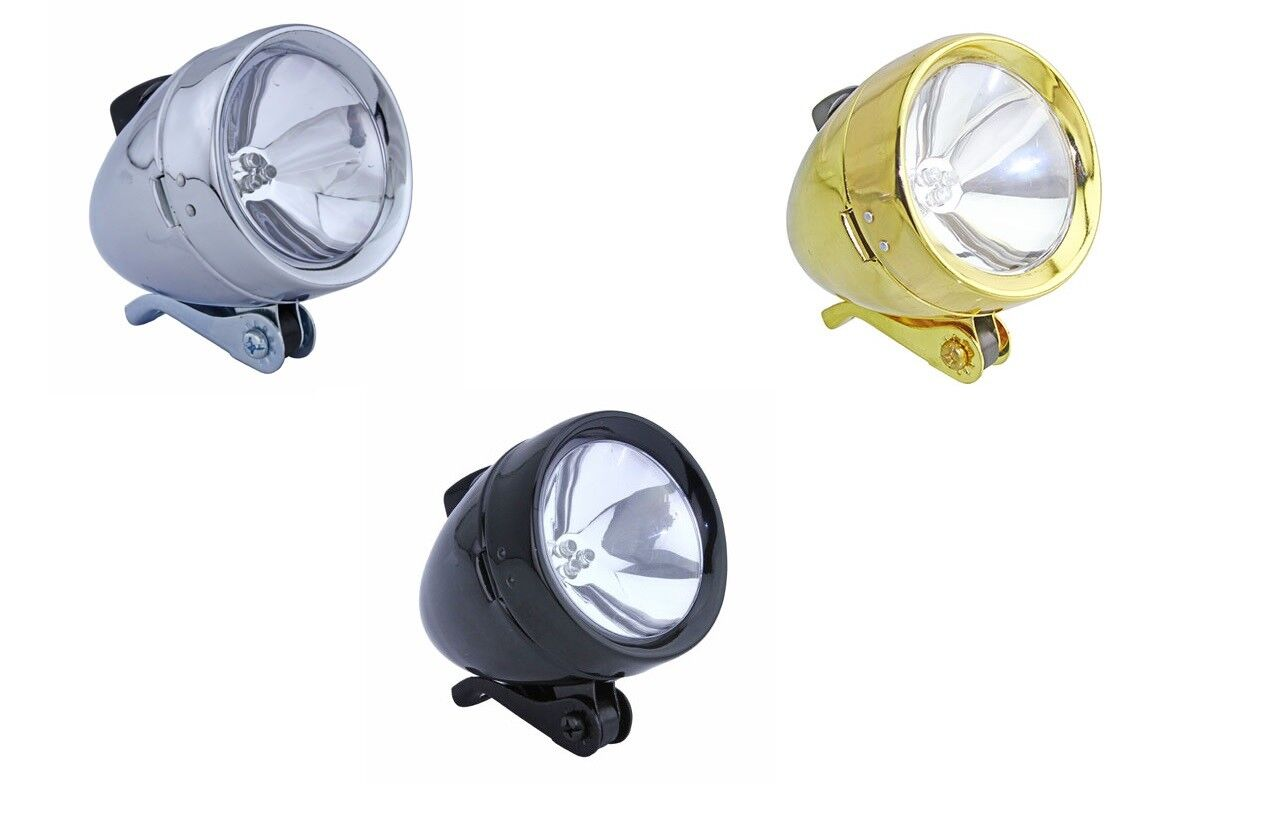 Classic Bicycle Bullet Headlight 3- LEDs Light Bulbs Cruiser Lowrider  Bikes  various sizes