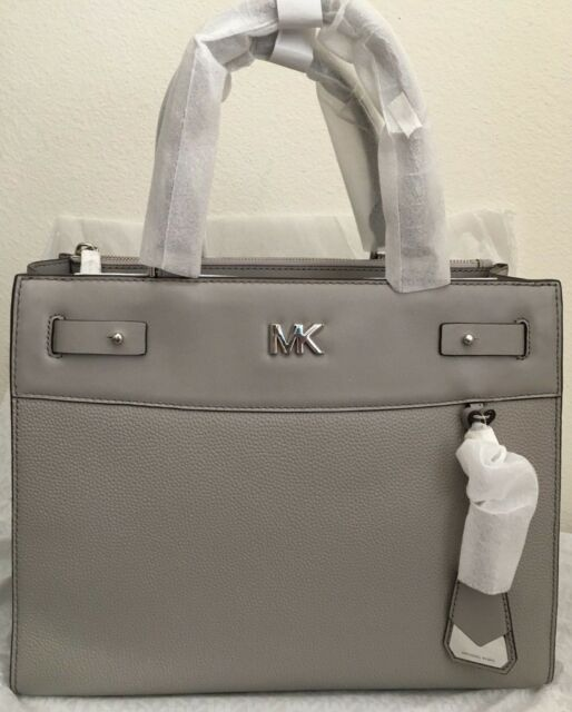 545f8a9f15c8 Michael Kors Reagan Large Leather Satchel Pearl Grey Great for sale ...