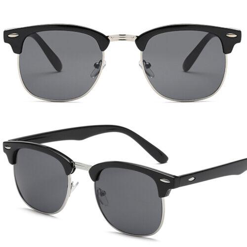 Sonnenbrille Hälfte Rahmen Nickelbrille Vintage Verspiegelt für Herren Damen