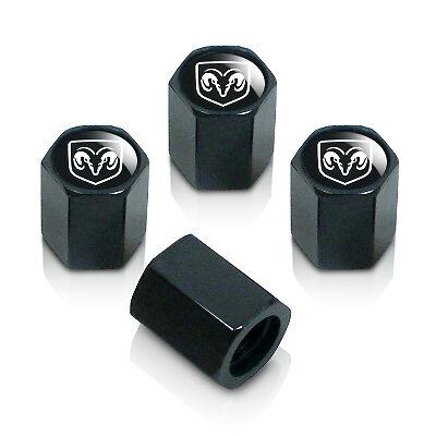 Mopar Logo Black ABS Tire Stem Valve Caps Elite
