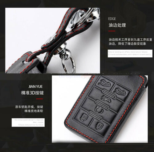4-6 Buttons Remote Bag Leather Remote Fob Case Car Key Cover Shell Cadillac