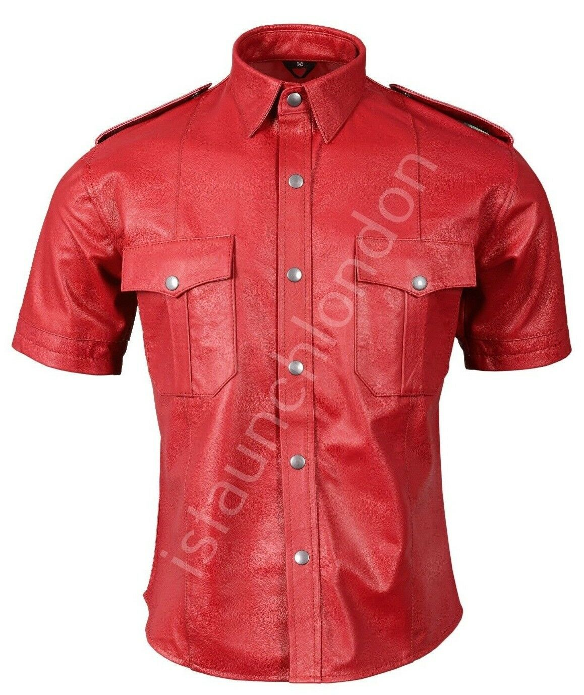 Mens HOT Genuine Real RED Sheep Leather Police Uniform Shirt blueF Gay All Sizes