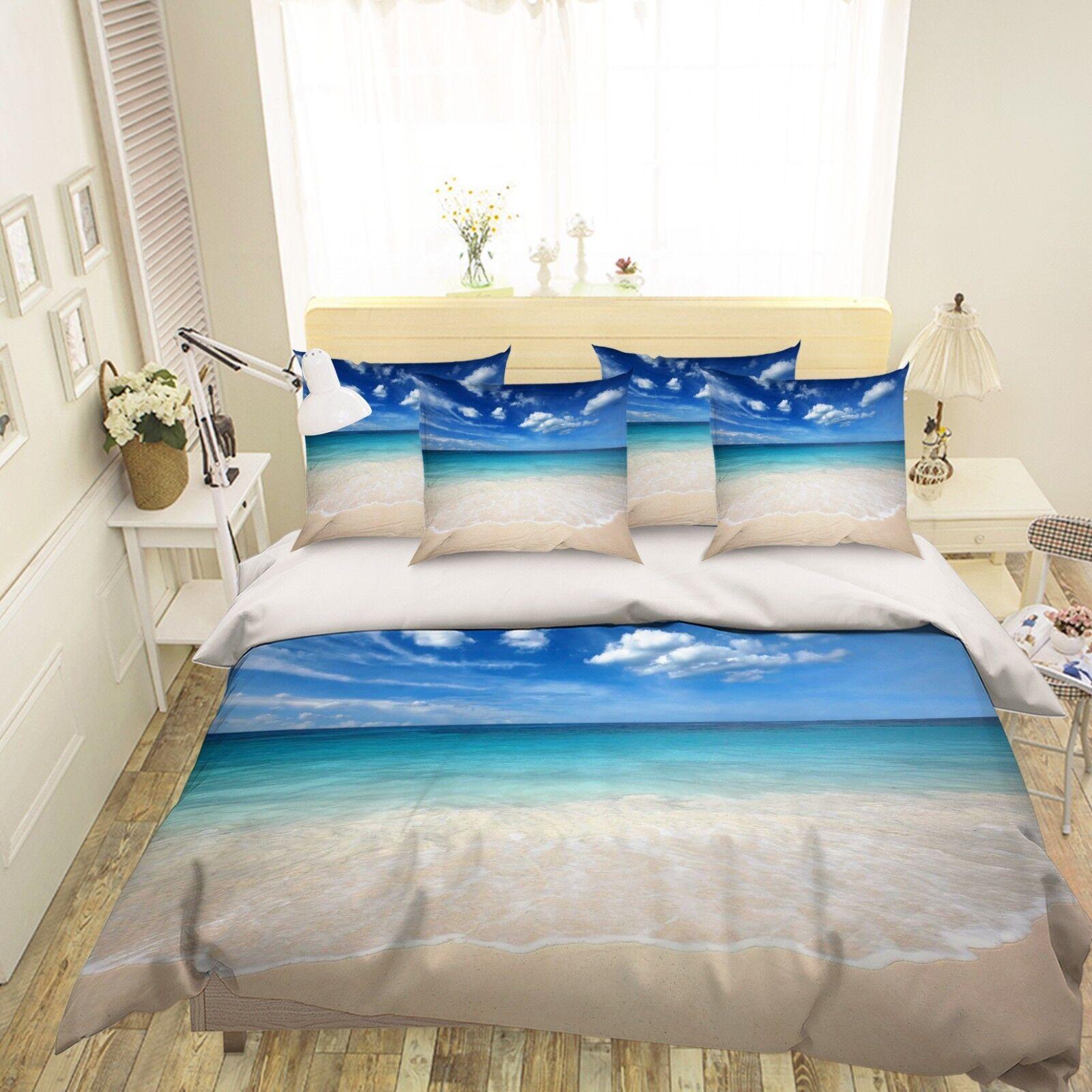 3D Sea Beach blueeeeee Sky 5 Bed Pillowcases Quilt Duvet Cover Set Single Queen US