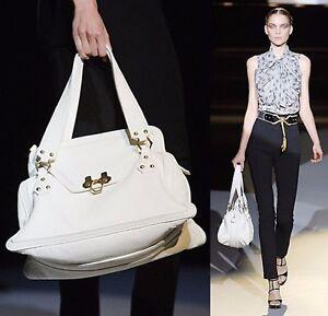 Zac Posen Handbag Zip Satchel Pebbled Leather Ivory Top
