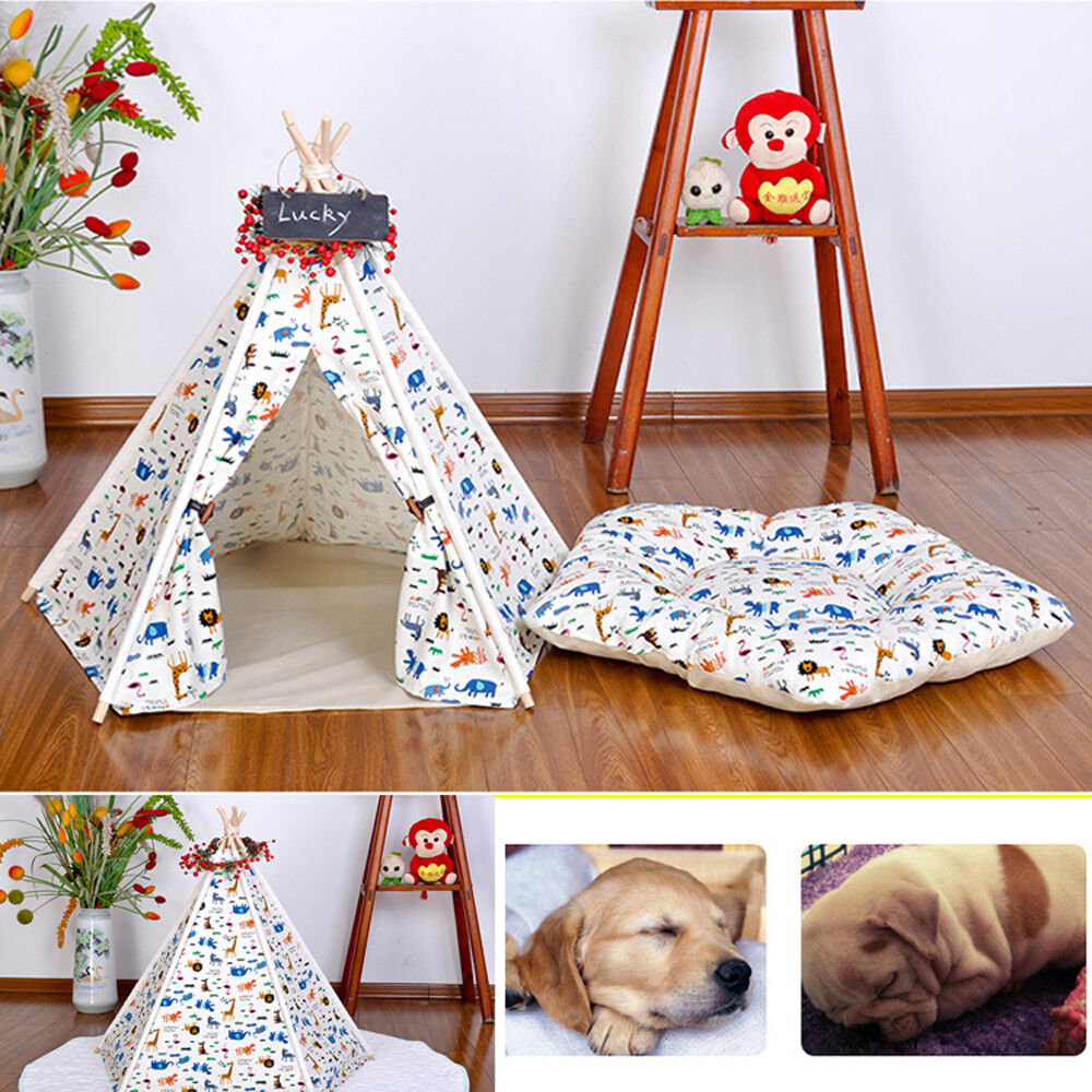 Portable Tents & Pet Houses with Cushion Pet Teepee Dog(Puppy) & Cat Bed