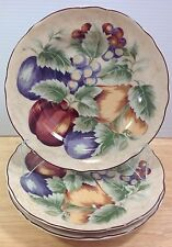 Napa Valley Noble Excellence 3 Round Salad Plates Fruit Grapes Apples Indonesia