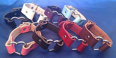 Leather Heart Ring Bracelet Choice of Colours Hand Made Real Leather