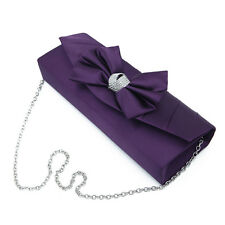 Elegant Satin Flap Bow Crystal Clutch Evening Bag - Diff Colors Avail