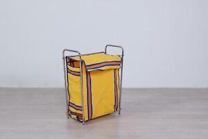 Portabiancheria-vintage-cestino-in-stoffa-anni-50-complemento-arredo-giallo