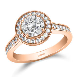 1.70 Ct Round Cut Real Moissanite Anniversary Ring 14K Solid Rose Gold Size 7