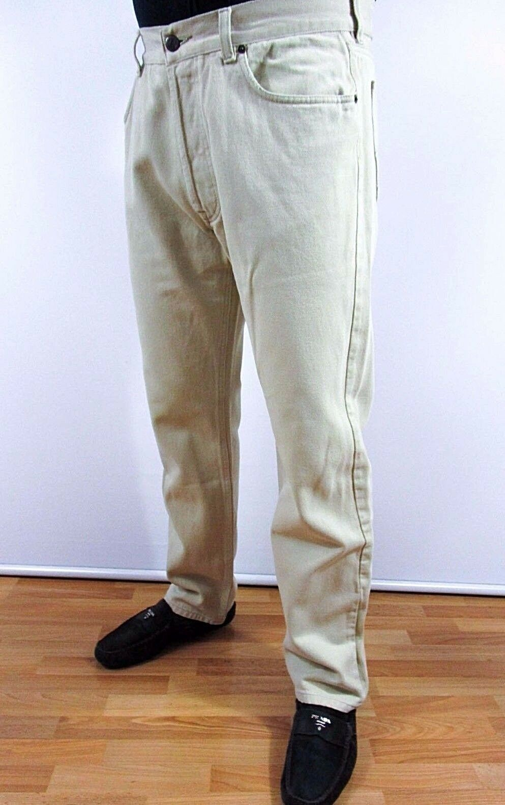 MARLBgold CLASSICS Men W36 L34 Cotton Beige Made in ITALY Vtg Trousers Pants BI34