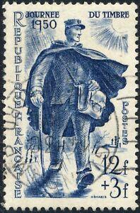 FRANCE-1950-Yv-863-Mi-881-12fr-3fr-le-Facteur-Journee-du-Timbre-Obl-TB