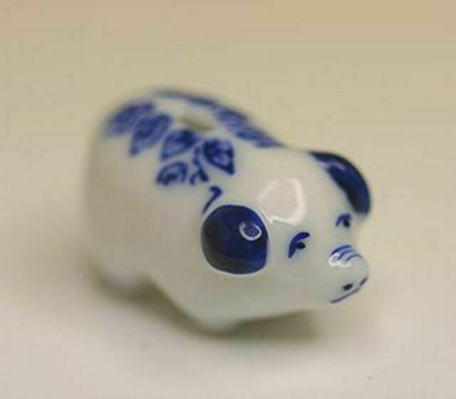 Dollhouse Miniature Blue and White Piggy Bank for sale online