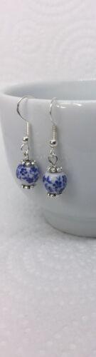 Pendientes de porcelana blanco azul artesanal en 925 Ganchos De Plata Starling