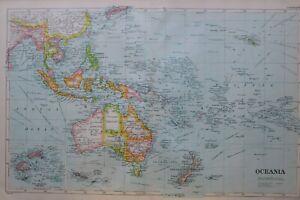 1919-MAP-OCEANIA-NEW-ZEALAND-AUSTRALIA-NEW-GUINEA-SANDWICH-ISLANDS-HAWAII