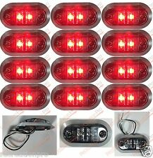 "12 NEW 3.25""x1.75"" CLEAR/RED LED SURFACE MOUNT CLEARANCE MARKER w/CHROME BEZEL"