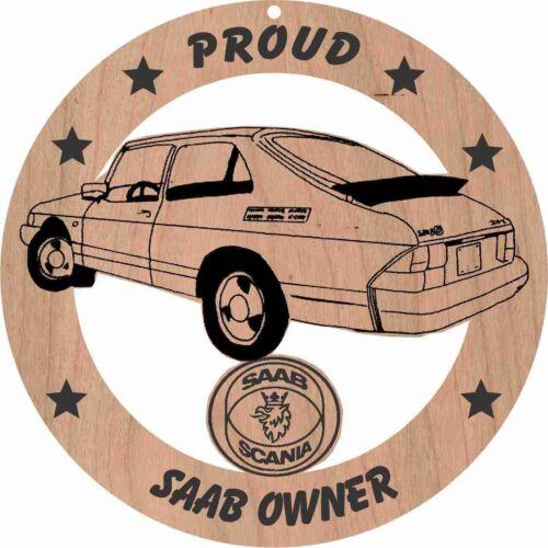 Saab 900I Sedan Wood Ornament Engraved