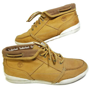 Details about Timberland Mens 8.5 Wide Chukka Boots Tan Khaki Leather 65565 7892 Boat Laces