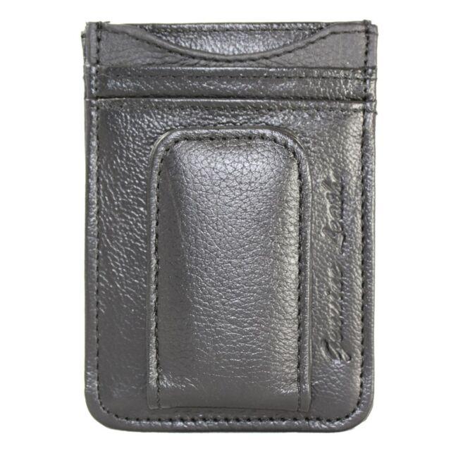 Men's Leather Money Clip Magnet Slim Front Pocket Wallet Credit Card ID Holder