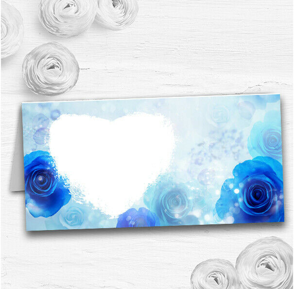 Stunning Blau Flowers Romantic Wedding Table Seating Name Place Cards