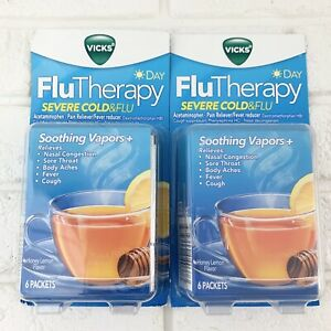Vicks Flu Day Therapy Severe Cold Flu Honey Lemon Tea 2 Packs 6 Packets 05/2021