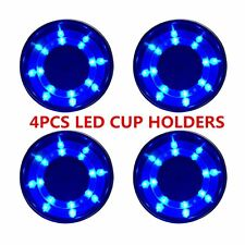 4Pcs Stainless Steel Cup Drink Holder Blue LED Insert for Marine Boat Truck RV