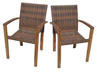 Extrem 2x Stapelstuhl Gartenstuhl Garten Stühle Stuhl Akazie Holz Rattan OE94