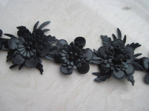 BF236 3D Flower Beaded Leather lace Trim for Neckline Hair Accessories Millinery