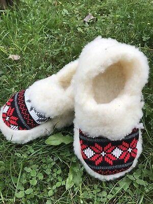 Hausschuhe Hüttenschuhe Lammfell Schafwolle Schaffell Gr.38 valenki Schuhe Wolle