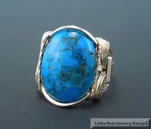 14 k Gold Filled Turquoise Cabochon Wire Wrapped Ring