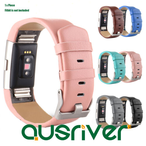 Ajustable Luxe Replacement Leather Wristband Strip+Pins For Fitbit Charge2