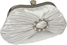 Abendtasche Vintage Satin Hochzeit Weiß Clutch white Strass Perlen Dekor Gala