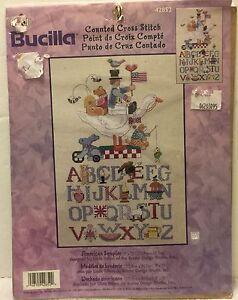 VTG-Bucilla-Counted-Cross-Stitch-American-Alphabet-Sampler-9-034-x15-034-42852-Baby