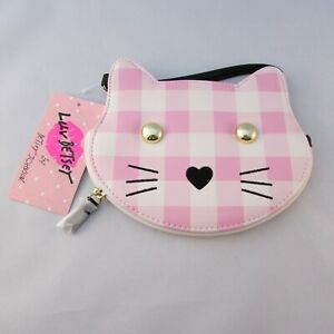 Luv-Betsey-Johnson-Pink-amp-White-Plaid-Kitty-Cat-Small-Coin-Purse-LBKITTT6