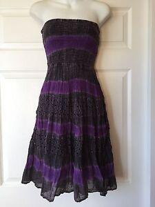 Dependable Boho Purple/gray Tie Dye Crushed Cotton Strapless Smocked Dress_juniorsize S_new