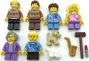 Lego-6-Neuf-Mini-Figurines-Famille-Mom-Pere-Grand-Pere-Grandma-Chien-Chat-Plus