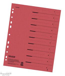 Séparateur Papier Rouge Registre Déposants Carton Pour A4 Classeur