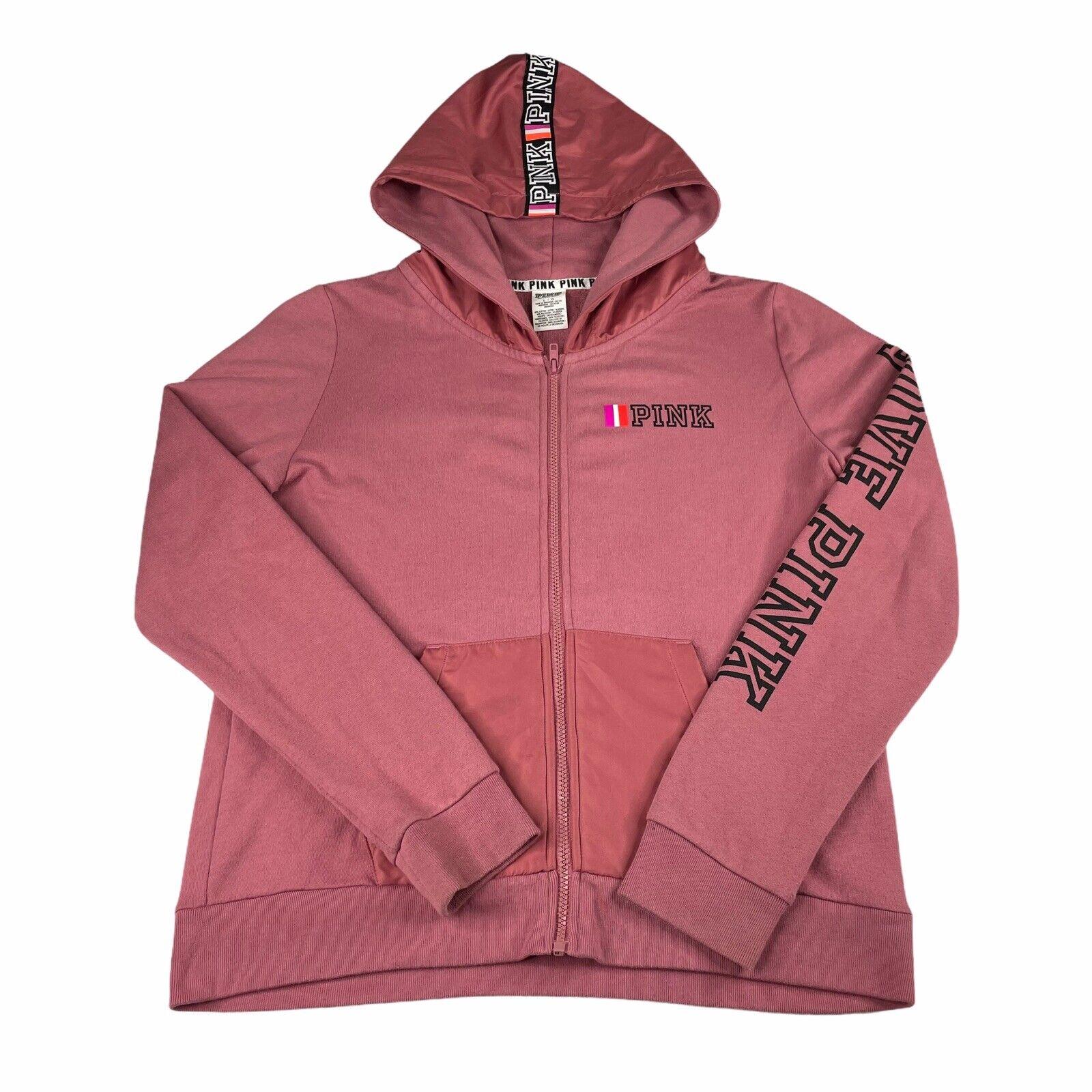 Victoria's Secret Pink Full Zip Hoodie Jacket Begonia Pink Size Large