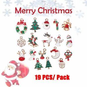 19PCS-Mixed-Enamel-Pendants-Christmas-Tree-Deer-Snowflake-Charms-Party-Decor-WI