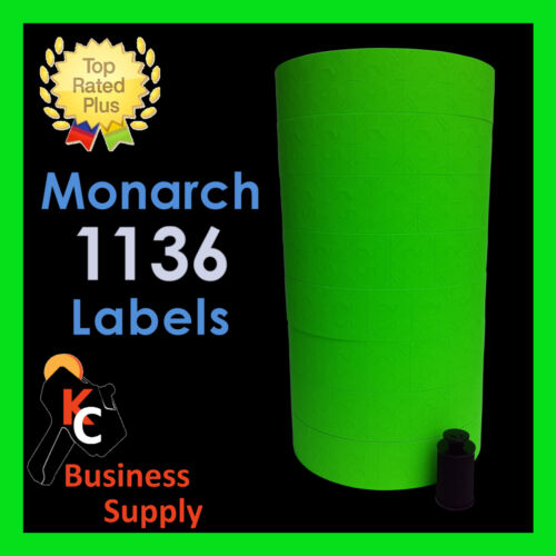 ink roller included Made in USA 8 rolls Monarch 1136 labels Green price gun