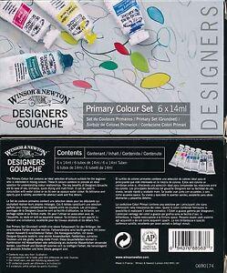 Winsor And Newton Designers Gouache Primary Colour Set 6 tubes x 14ml NEW