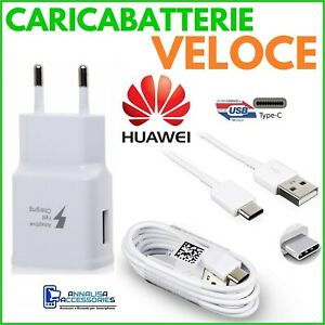 CARICABATTERIE-VELOCE-FAST-CHARGER-X-HUAWEI-P30-LITE-PRESA-USB-CAVO-TIPO-TYPE-C