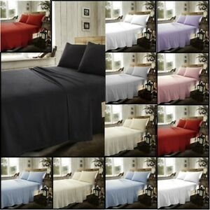 100-Brushed-Cotton-Flannelette-Fitted-Sheet-Flat-Sheet-Or-Sheet-Set-Pillowcase